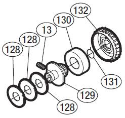 схема подшпульного узла shimano