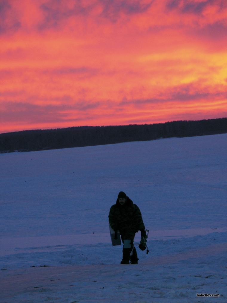 закат лед рыбалка