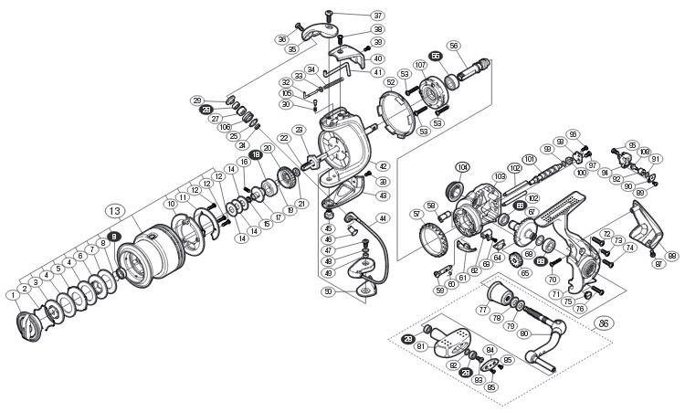 shimano 10 exsence schematic схема