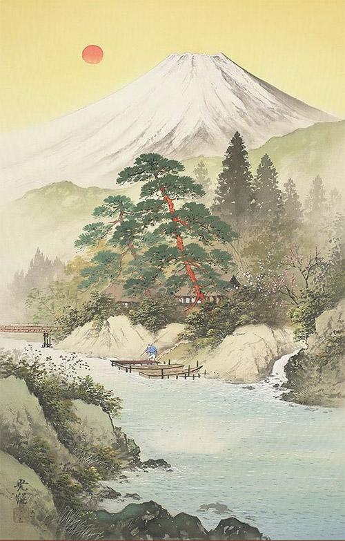 пейзаж япония река