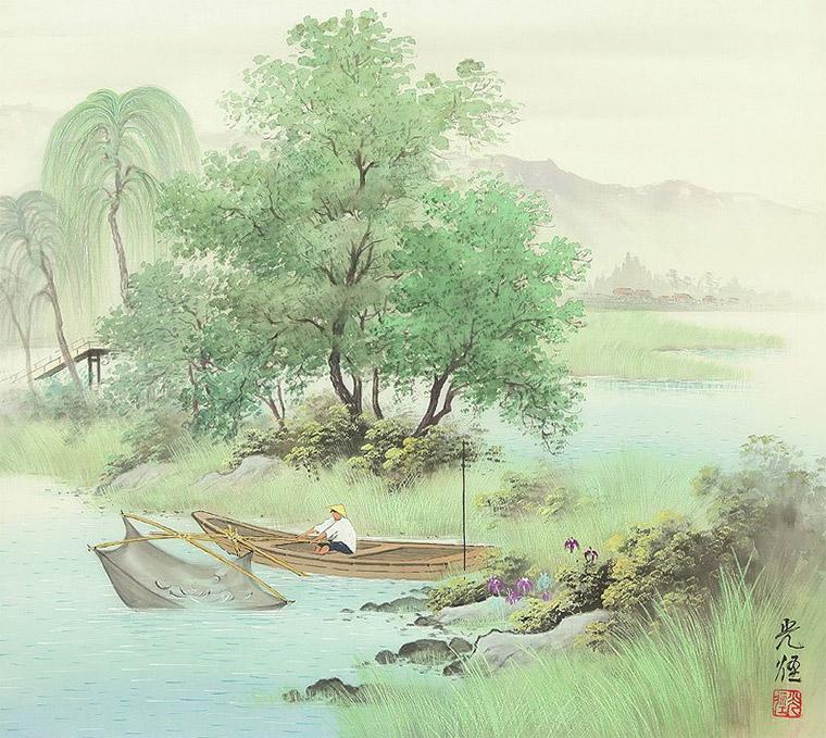 японский рыбак живопись