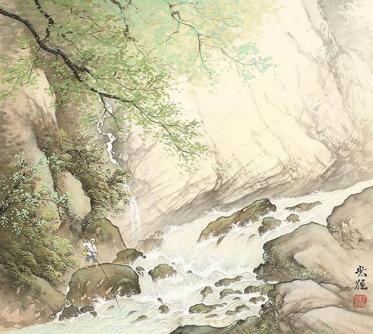 рыболов в горах японии