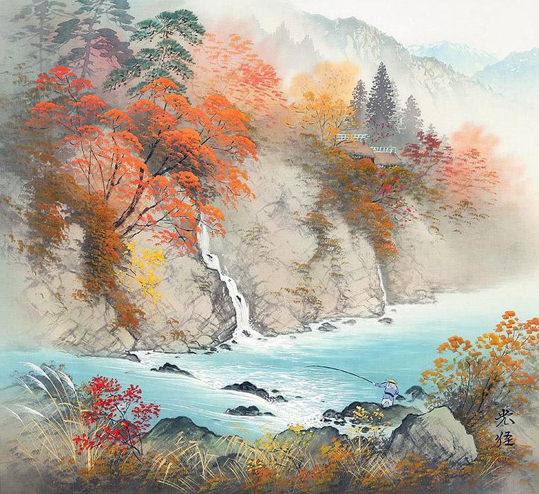осень япония рыболов