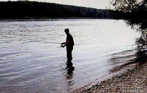 рыболов в реке