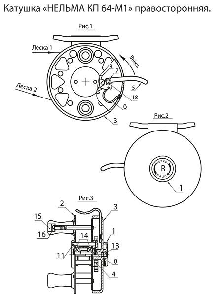 катушка нельма кп 64-м1 правосторонняя схема