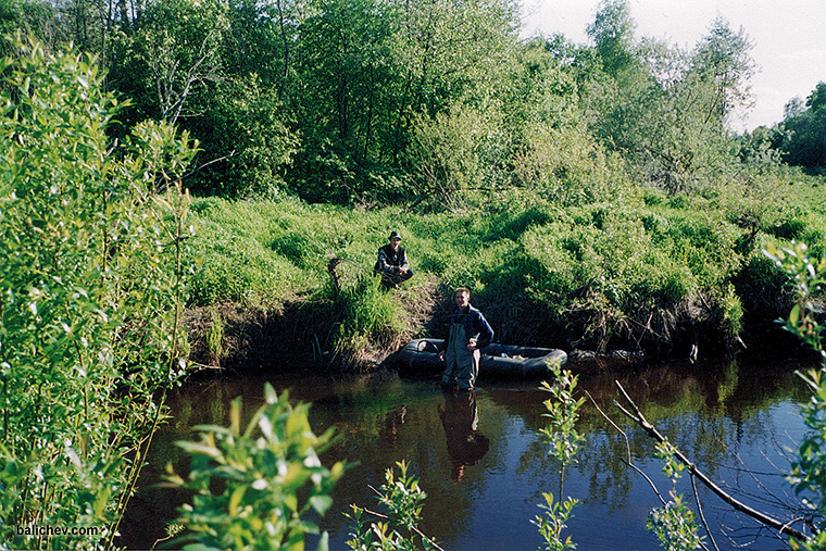 рыболовы на лесной речке