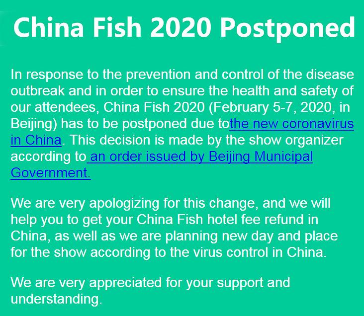 china fish 2020 postponed