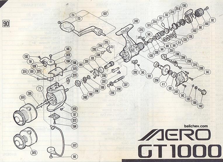shimano aero gt 1000 schematic diagram