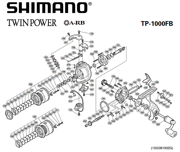 shimano twin power fb 1000 exploded view